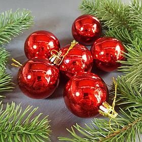 Набір червоних глянцевих кульок 6 шт, Діаметр 5 див.