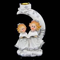 Ангелочки статуэтка подсвечник сидят на луне с раскрытой книгой S5016