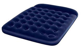 Велюровый надувной двухместный матрас Bestway 67226 синий 203-152-22 см со встроенным ножным насосом