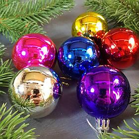 Набор разноцветных глянцевых шаров 6 шт. Диаметр 5 см.