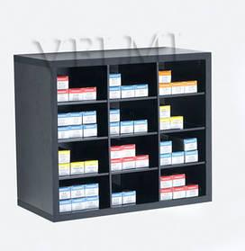 Шкаф открытый для парикмахерской VM607 ДСП Swisspan Черный (Velmi TM)