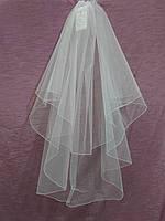 Свадебная фата короткая белая с опиковкой