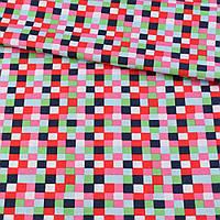 Коттон в красные, розовые, синие квадратики, ш.145 (18479.005)