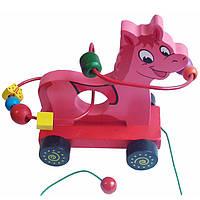 Деревянная игрушка Каталка лабиринт Животные лошадка