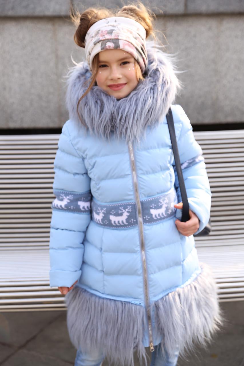 0ac545f204f Зимнее стеганное пальто для девочки с мехом ламы  продажа