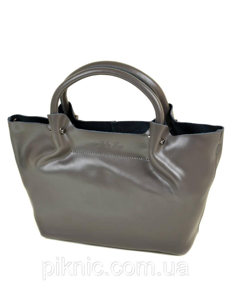 Женская сумка кожаная классическая. Натуральная кожа 37*25*14см. Серый