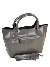 Женская сумка кожаная классическая. Натуральная кожа 37*25*14см. Серый, фото 2