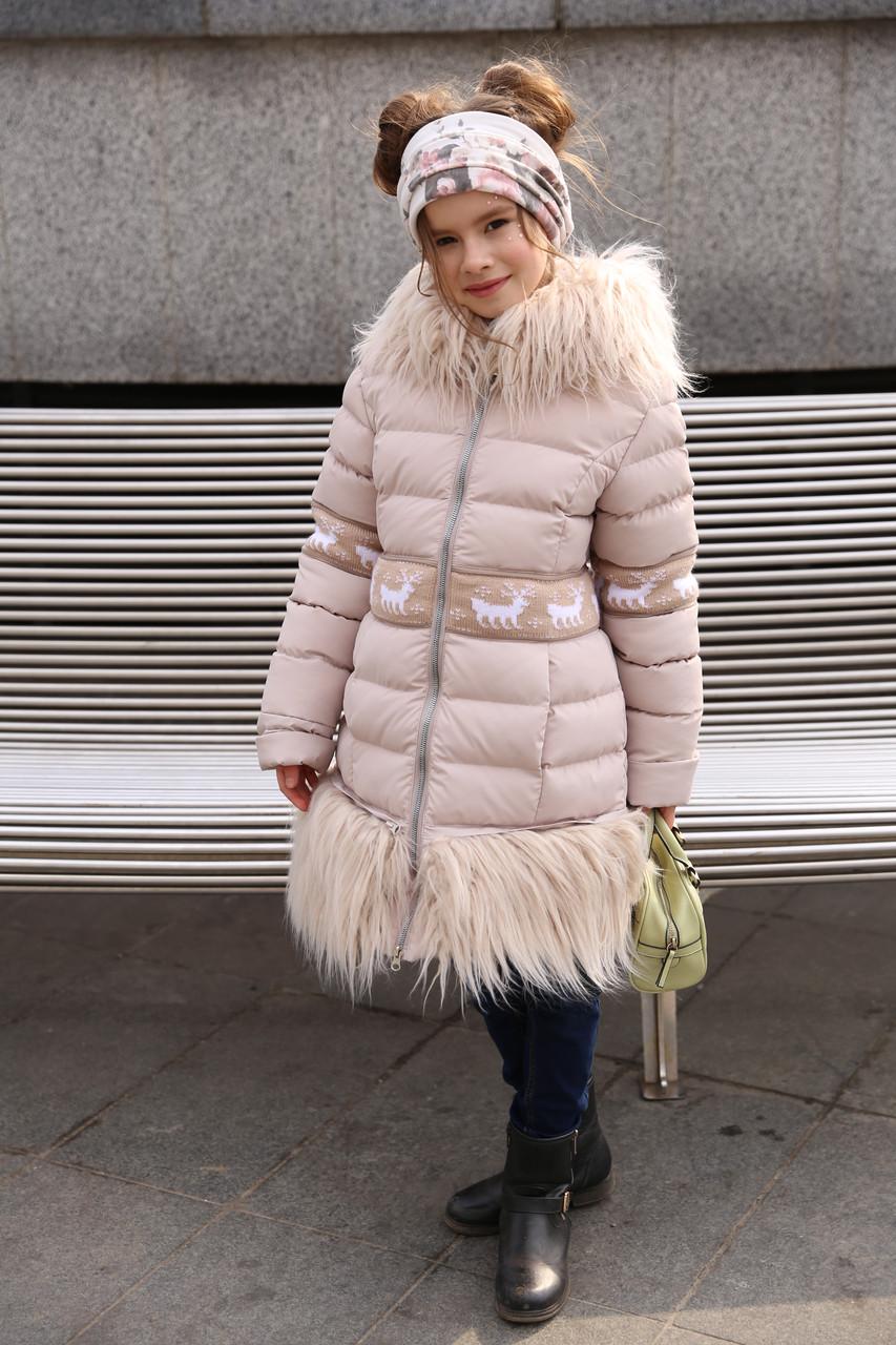 5e8dff245ed Красивое зимнее стеганное пальто для девочки с мехом ламы  продажа ...