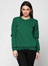 Свитшот женский на флисе, темно-зелёный