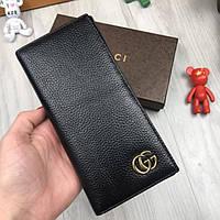 Трендовый кожаный клатч Gucci GG черный кошелек натуральная кожа мужской женский бумажник Гучи премиум реплика, фото 1