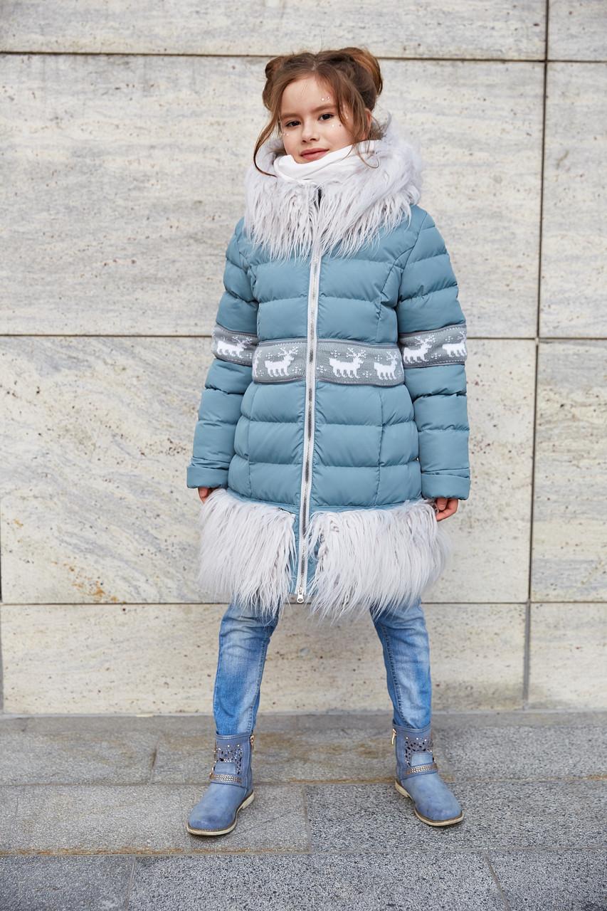 92b26edb233 Красивое зимнее пальто для девочки с мехом ламы серо-голубого цвета ...
