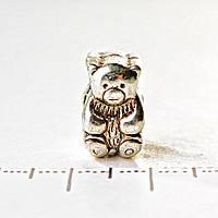 [13 мм] Бусина шарм Пандора светло серый металл Мишка фасовка 9шт