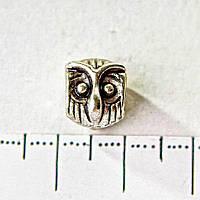 Бусина шарм Пандора светло серый металл Сова d1-10 мм, d2-5мм, фас.7шт