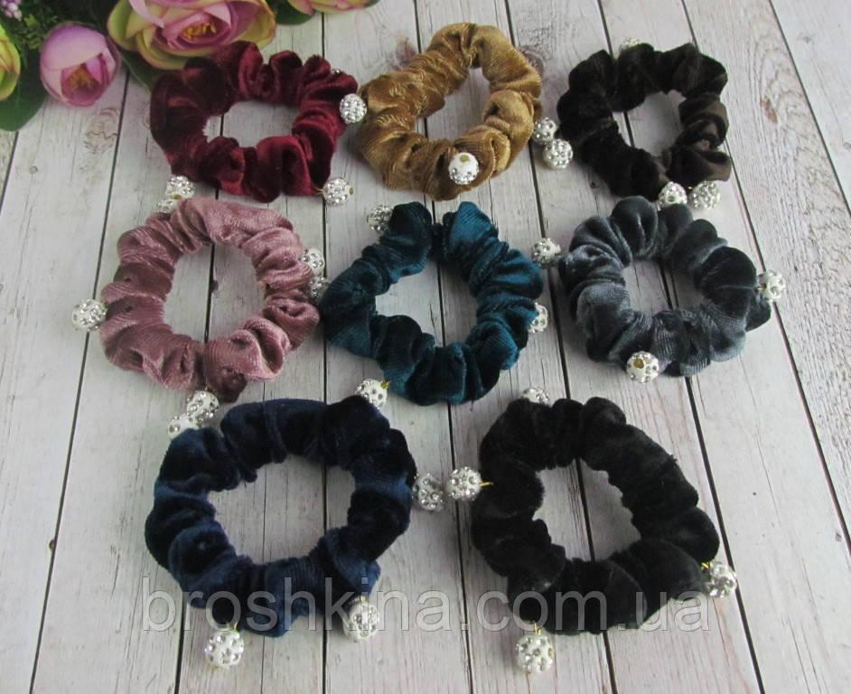Резинки для волос бархатные с бусинами шамбала d 6 см 12 шт/уп
