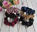 Резинки для волос бархатные с бусинами шамбала d 6 см 12 шт/уп, фото 2