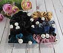Резинки для волос бархатные с бусинами шамбала d 6 см 12 шт/уп, фото 3