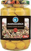 Турецкие оливки фаршированные перцем зеленые 400 г Marmarabirlik 4XL