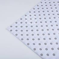 Отрез ткани №24а  бязь с серым горошком 1 см на белом фоне, размер 65*160