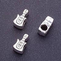 Фурнитура бусина Пандора гитара 8х15мм d-4мм фас.20гр. +-7шт.