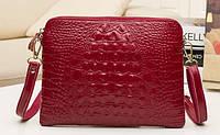 Женский клатч сумка Натуральная Кожа крокодилий принт Бордовый