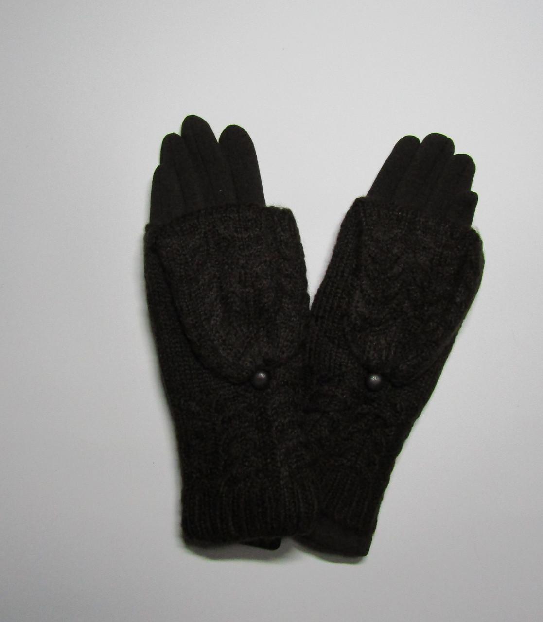 Зимние женские перчатки + митенки Темно-коричневый
