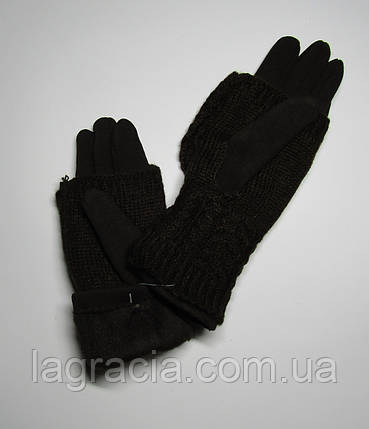 Зимние женские перчатки + митенки Темно-коричневый, фото 2