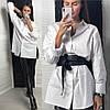Рубашка женская базовая белая свободного кроя оверсайз хлопок Bld279
