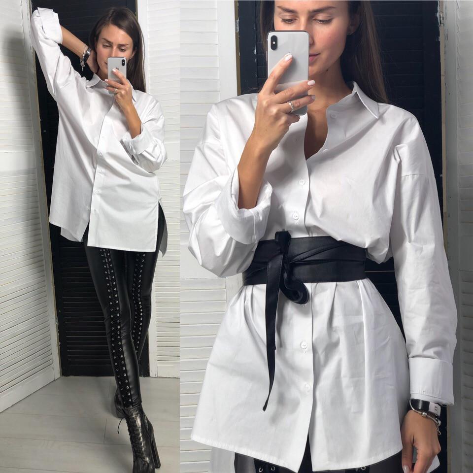 8efa87f1162 Рубашка женская базовая белая свободного кроя оверсайз хлопок Bld279 ...
