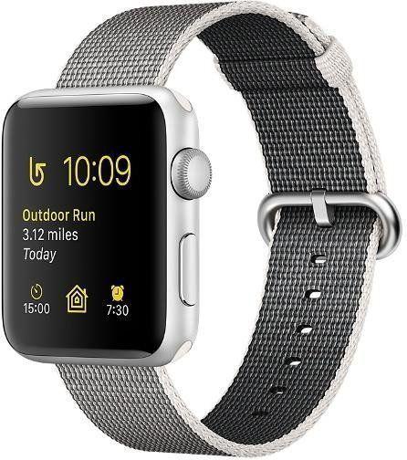 Apple Watch Series 2 38 mm Silver Aluminium Case with Pearl Wowen Nylon (MNNX2)