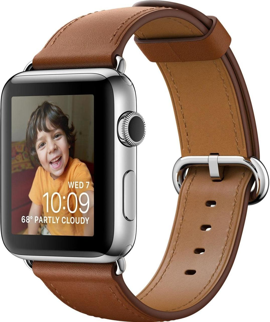 Apple Watch Series 2 42 mm Stainless Steel with Saddle Brown Classic Buckle Band (MNPV2)