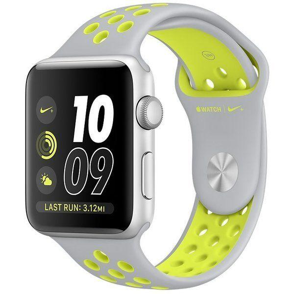 Apple Watch Nike+ Series 2 38 mm Silver Aluminium with Flat Silver/Volt Nike Sport Band (MNYP2)