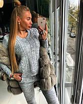 Костюм женский теплый вязаный штаны и кофта с вырезом , фото 3