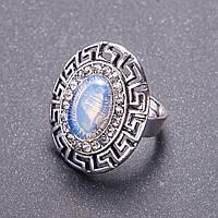 """Кольцо с Лунным камнем, оправа """"греческая"""" 2,8*2,4 см овальный камень без р-р"""