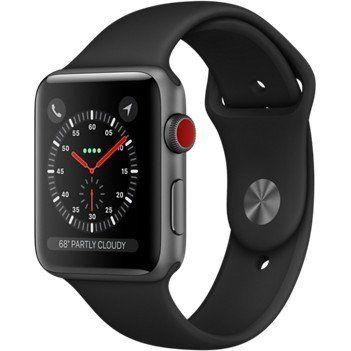 Apple Watch Series 3 GPS+Cellular 42mm Space Gray Aluminum with Black Sport Band (MQK22)