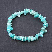 Браслет натуральный камень Амазонит галтовка на резинке d- 8мм обхват 18,5 см