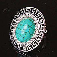 """Кольцо Бирюза оправа """"греческая"""" 2,8*2,4см овальный камень без р-р"""