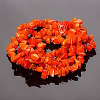 """Бусины на нитке камень оранжевая """"каменная крошка """" 85 см"""