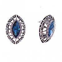 Серьги-пусеты с синими кристаллами- Маркиз, оправа в стразах, 25*17мм