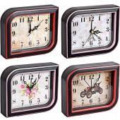 """Настольные часы - будильник """"Ромб"""" с картинкой 12,5*10,5*3,5см 895"""