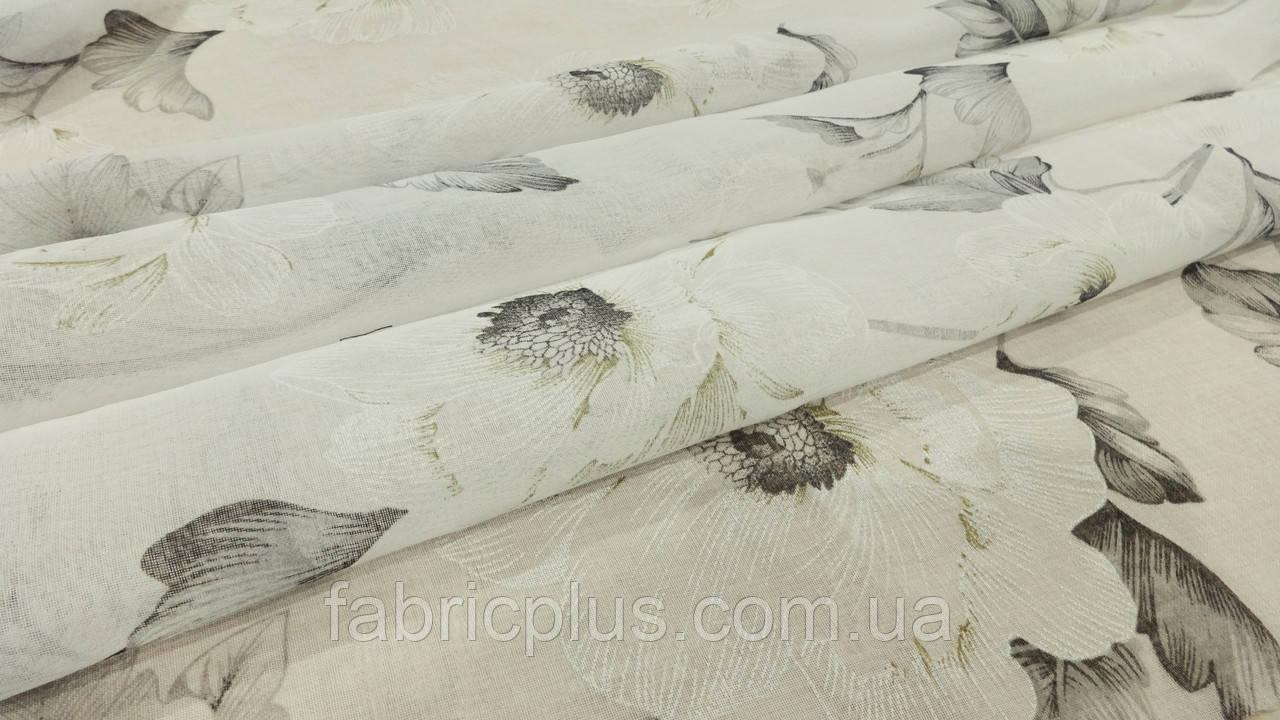 Гардинное полотно батист (квіти сірі) в-280
