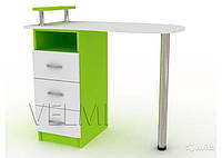 Стол маникюрный VM127 ДСП Белый+Светло-зеленый (Velmi TM)