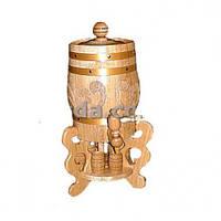 Бочка деревянная со стаканами