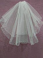 Свадебная фата короткая с паетками белая