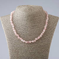 Бусы нат камень Розовый Кварц галтовка d-6-8мм L-48см