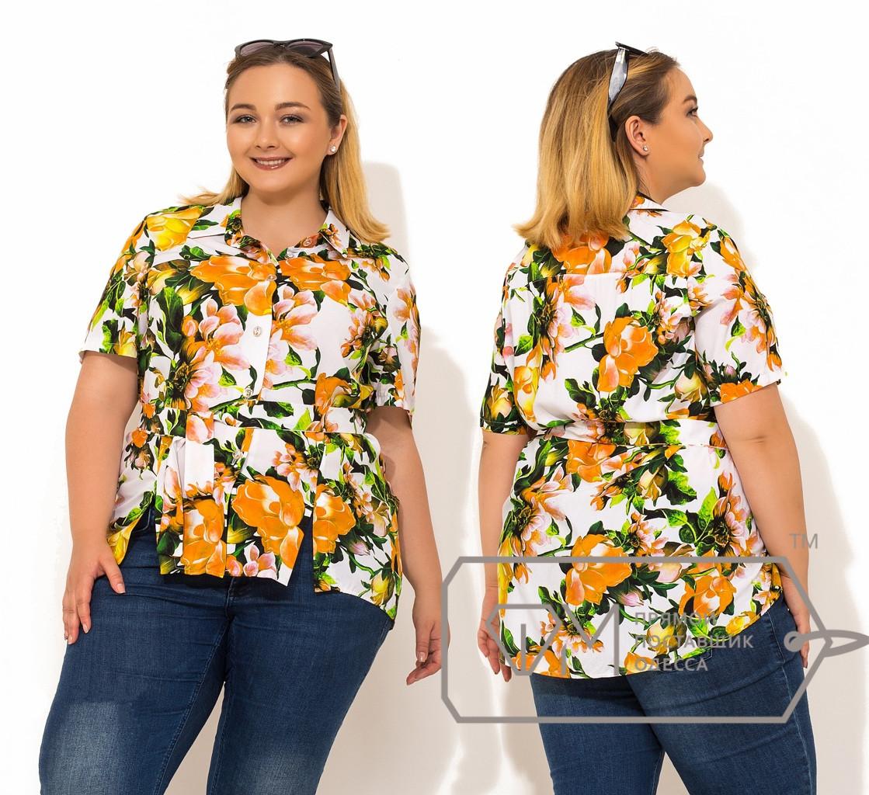 Блуза в цветок, супер батал