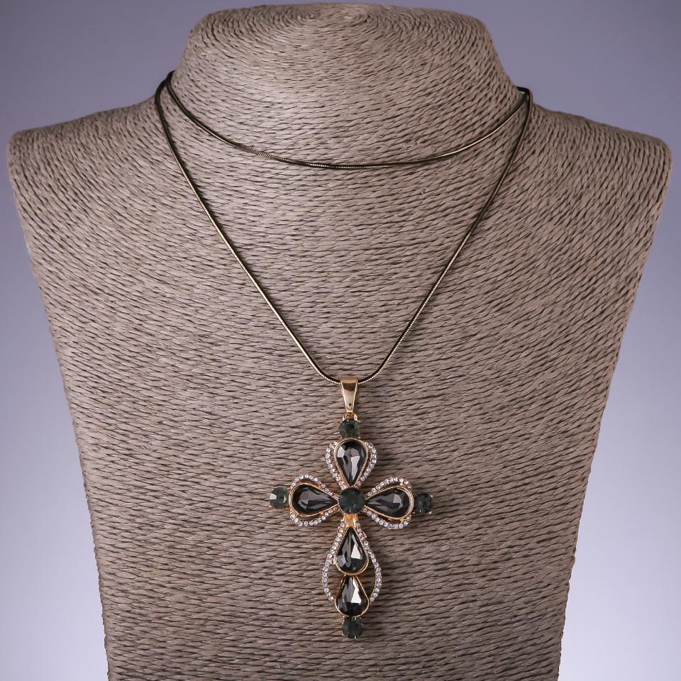 """Подвеска """"Крест"""" с серыми кристаллами на длинной цепочке металл """"черное золото"""" L-72см"""