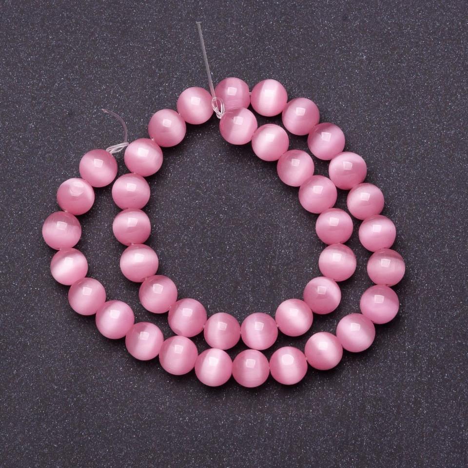 Бусины натуральный камень на нитке кошачий глаз Розовый d-10мм L-37см