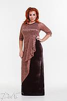 Вечернее платье в пол из бархата, больших размеров 50-56