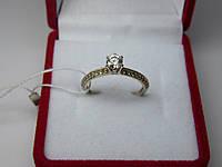 Золотое женское кольцо с белого золота. Размер 16,5