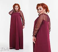 Вечернее платье в пол, костюмка + сетка, размер 42-56